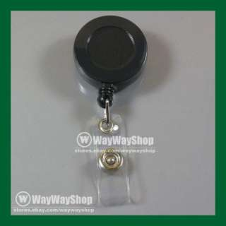 10 X Reels Retractable Badge Clip ID Card Holder Black new