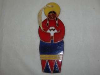 NATIVE AMERICAN WOMAN ART POTTERY TILE ORNAMENT 6.75 |