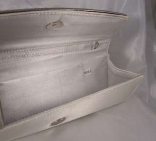 SILVER SATIN Crystal Rhinestone EVENING BAG PURSE 24 Strap Bridal