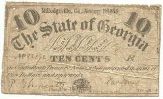 1863 State of Georgia 10 Cent Confederate Bank Note Currency