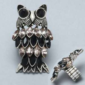 Burnished Silvertone Owl Stretch Jeweled Cocktail Ring