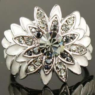 White Gold GP Swarovski Crystal Enamel smoky Cocktail Ring o183