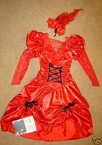 Costume showgirl saloon red satin lace dress hose 7 8