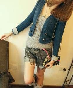 New Womens Retro Navy blue British style Knit short jacket XS S K118