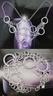 925 Sterling Silver Plated Necklace&Bracelet Set 9