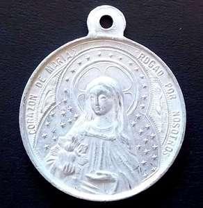 ANTIQUE MEDAL SACRED HEART OF JESUS CHRIST & VIRGIN MARY, MARKED M