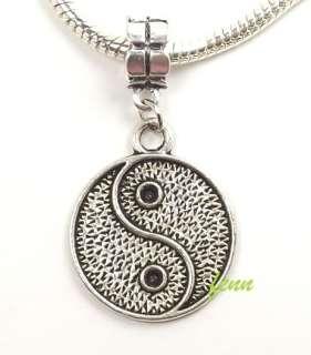 Silver Ying Yang Dangle Pendant fit Charm Bracelet