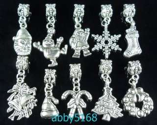 30x Tibetan Silver Xmas Dangle Charm Fit Bracelet ZN06