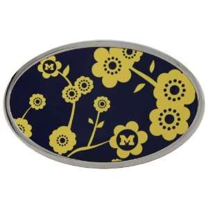 Michigan Wolverines Ladies Navy Blue Flower Belt Buckle