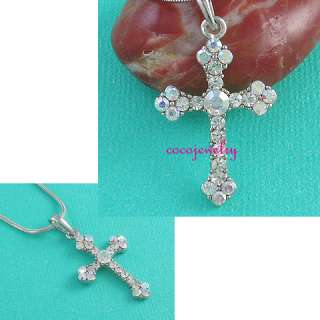 Small Clear Silver Tone Cross Crystals Pendant Necklace