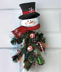 Holiday Fiber Optic Wall Decor Christmas Snowman Color Changing Fiber