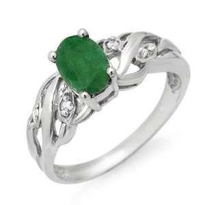Certified .82ctw Emerald & Diamond Ring White Gold (J12