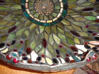 Huge Vintage Dale Tiffany Dragonfly Stained Glass Lamp Shade Signed