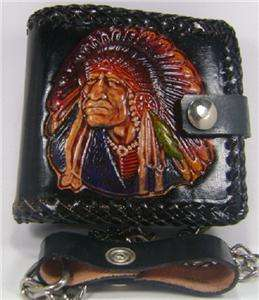 Black Genuine Leather Mens Western Double Indian Chain Wallet