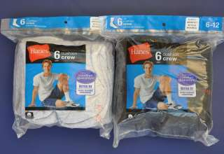 12 Pairs Hanes Mens Black & Gray Cushion Crew Socks