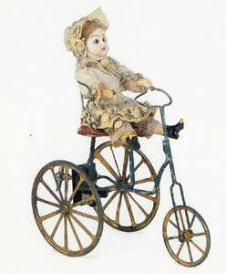 PostcardAntique FRENCH DOLL Bisque + Tinplate Tricycle 19th century