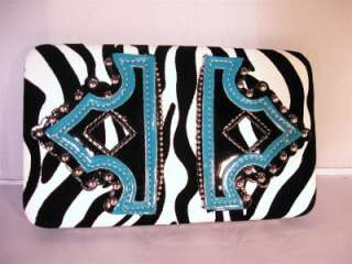 Turquoise Blue Western Cowgirl Boot Top Zebra Heart Handbag Tote Purse
