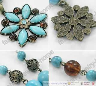 Fashion Turquoise flower bronze crystal necklace