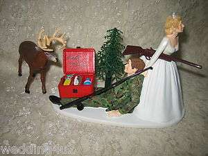 FUNNY WEDDING BIG BUCK CAMO DEER HUNTER & FISHING CAKE TOPPER