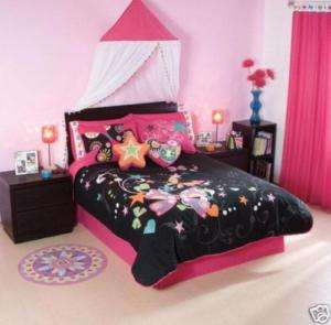 Teens Girls Nova Pink Black Comforter Bedding Set Twin