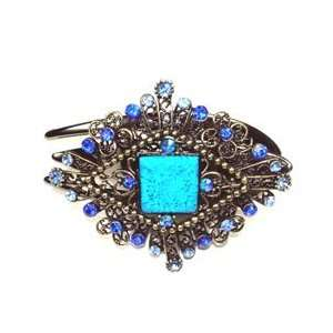 Blue Austrian Rhinestone Victorian Style Hair Clamp Jewelry