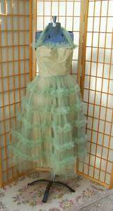 1950S WOMENS GREEN TAFFETA TULLE HALTER PARTY DRESS