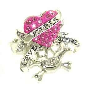 Love Kills Slowly Designer Style Tattoo Skull Ring w/ Pink