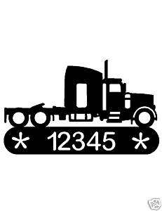 SEMI TRACTOR METAL HOME ADDRESS SIGN WALL DECOR TRUCK