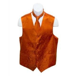 Mens Burnt Orange Paisley Design Dress Vest and NeckTie Set for Suit