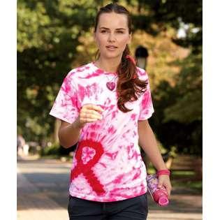Tie dyes Adult Awareness Ribbon T Shirt, Pink, Medium