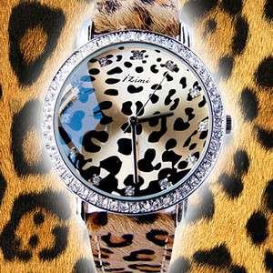 Leopard Fur horsehair strap Crystal Female Quartz Wrist watch fashion