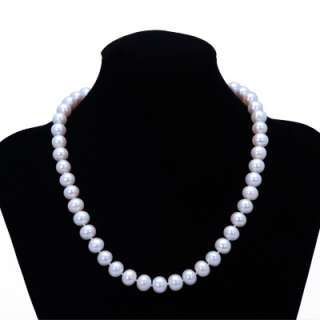 10 11mm Genuine Pearls w/925 Silver Rose Clasp Necklace