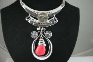 TURKISH TRADITIONAL SILVER PLATED WITH COMPRESSED CORAL STONE NECKLACE