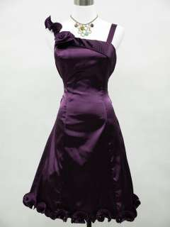 Cherlone Satin Dark Purple Prom Cocktail Party Ball Evening Dress UK