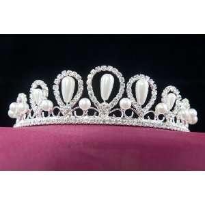 Swarovski Crystal Pearl Wedding Bridal Prom Tiara Beauty