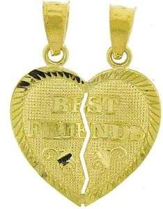 10K YELLOW GOLD BEST FRIENDS BFF HEART CHARM 2 PENDANTS