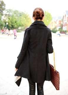 Trendy Korean Women Slim Wool Cardigan Cape Jacket Coat Black M L 0960