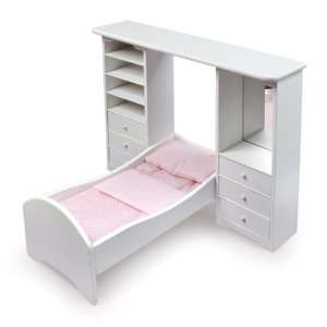 Doll Bed w/Pier Cabinets & Bedding by Badger Basket: Toys