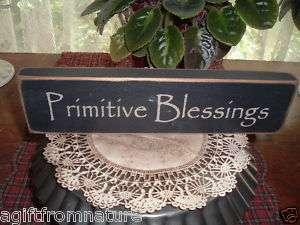 PRIMITIVE BLESSINGS BLOCK WOOD SIGN AMERICANA SITTER