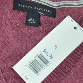 BANANA REPUBLIC Mens Cotton Cashmere V Neck Sweater Mauve Taupe XL