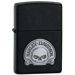 Zippo Black Matte, Harley Davidson Skull Emblem  Sports