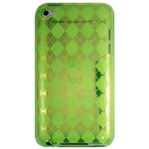 Green Argyle Pattern Gel Case for Apple iPod Touch 4th Gen