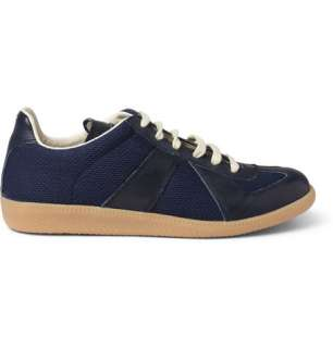 Maison Martin Margiela Leather and Woven Fabric Sneakers  MR PORTER