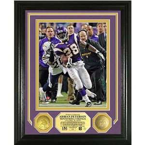 Adrian Peterson Nfl Single Game Rushing Record Photo Mint W/ Two 24Kt