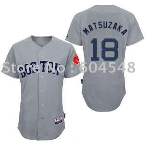 boston red sox #18 baseball matsuzaka grey jersey: Sports