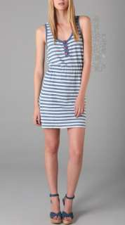 fashion fox brand new juicy couture indigo blue stripe tank dress l