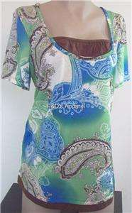 New Ever Blue Womens Plus Size Clothing 0X Green Ladies Shirt Top