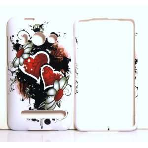 White with Double Red Heart Graffiti Art HTC EVO 4G / 4 G