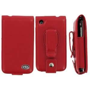 Apple iPhone 3G Premium Flip Red Leather Case with