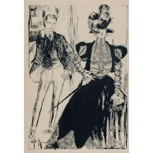 Print Victorian Woman Man Rose ONeill   Original Halftone Print Home